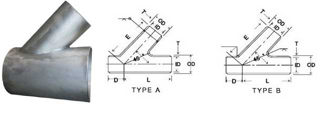 Stainless Steel Lateral Tee Dimensions