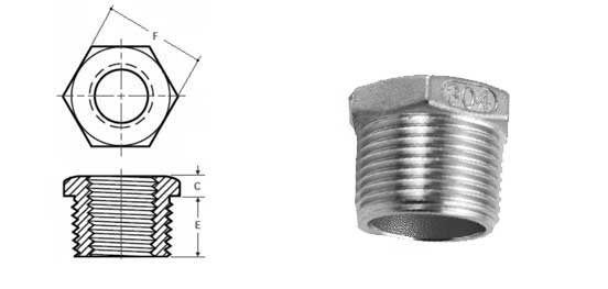 Threaded Hex Head Bushing  Sizes