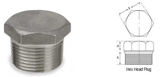 Stainless Steel Threaded Hex Head Plug Dimensions